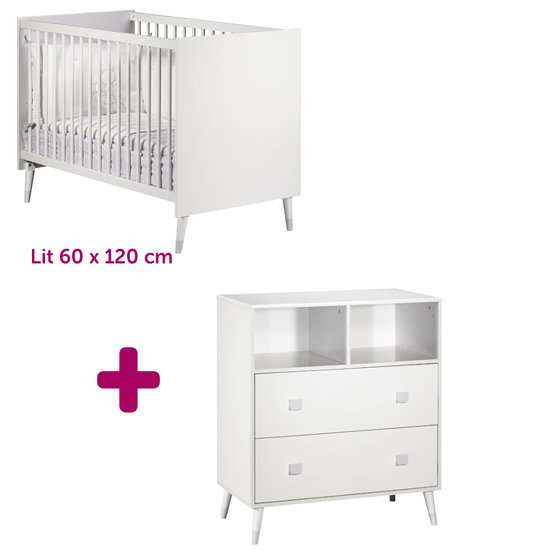 Lit 60x120 cm + commode Candie
