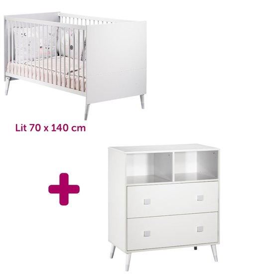 Lit 70x140 cm + commode Candie