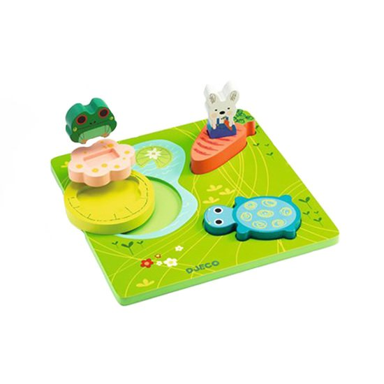 Puzzle bois relief - 1, 2, 3 Froggy
