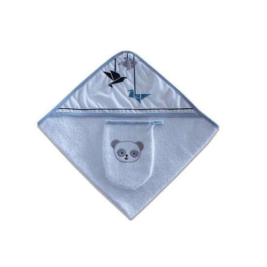 """Sortie de bain + gant """"Panda bleu"""""""