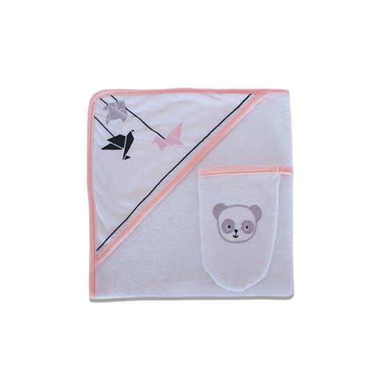 "Sortie de bain + gant ""Panda rose"""