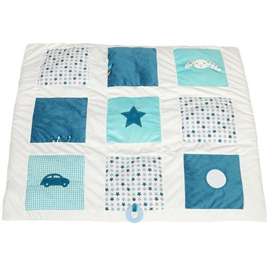 tapis de parc lapin 85x100 mixed stars mint