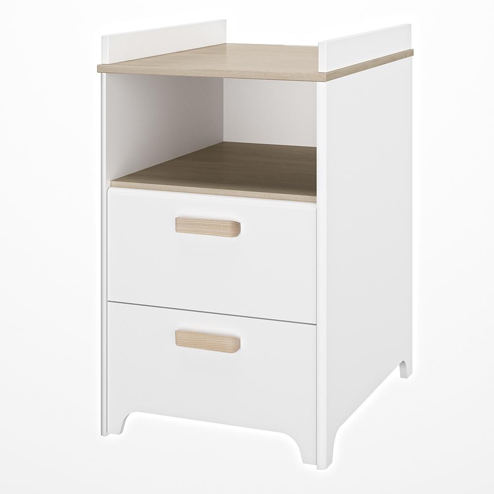 Meuble à langer 2 tiroirs + 1 niche Léon BLANC Bébé Lune