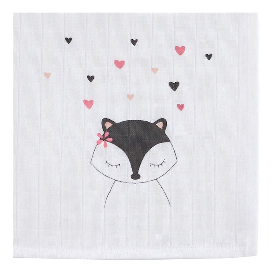 P'tit bisou Lot de 3 langes collection Little Fox Rose 70x70 cm