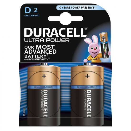 Duracell 2 piles Ultra power D - LR20