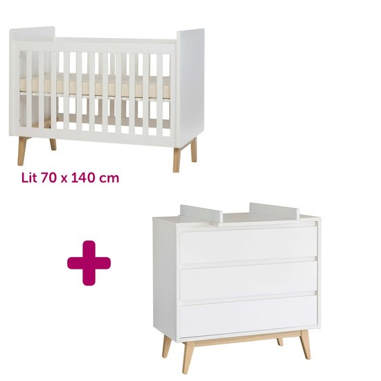 Lit 60x120 cm + commode Pure