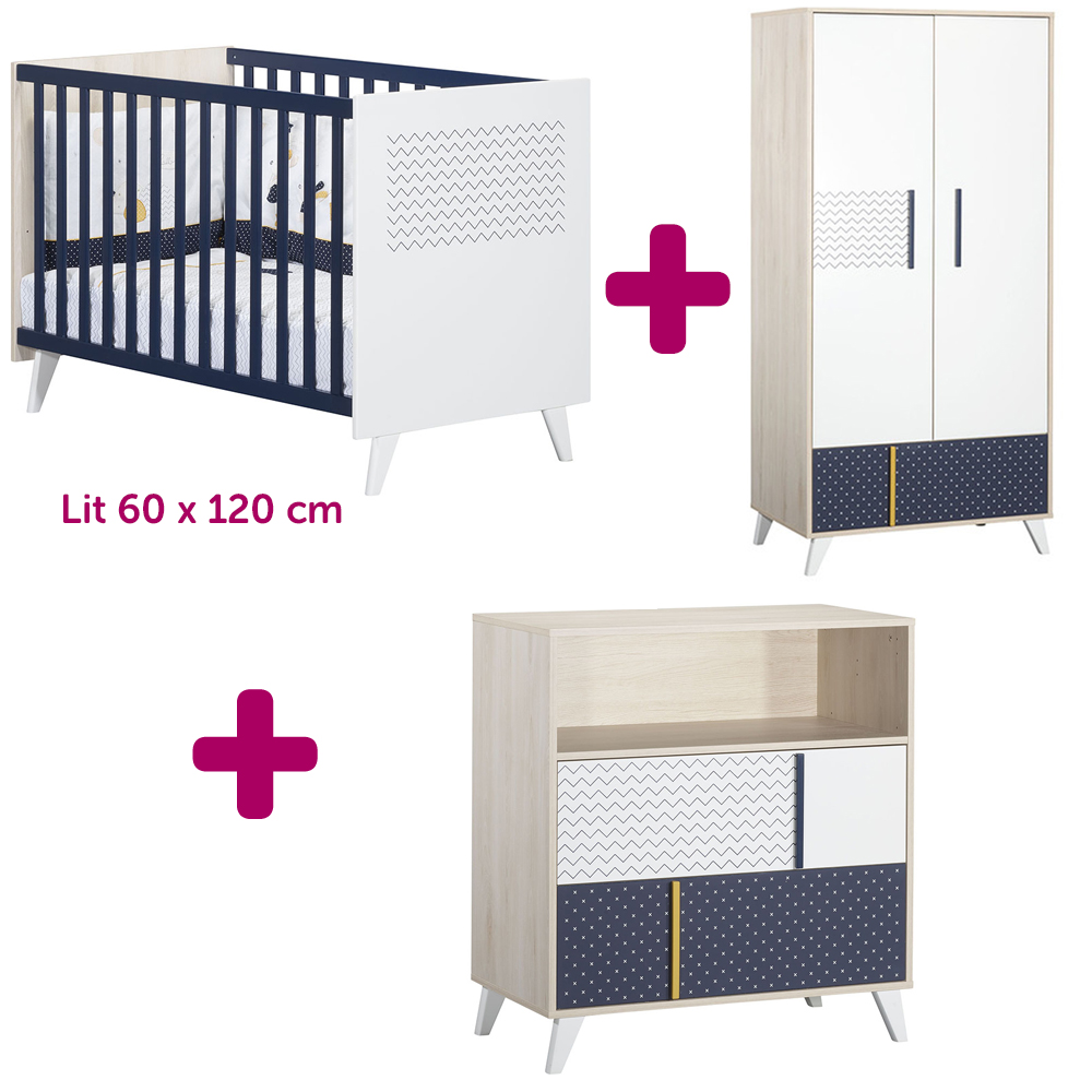 Sauthon Lit 60x120cm + commode + armoire Hello