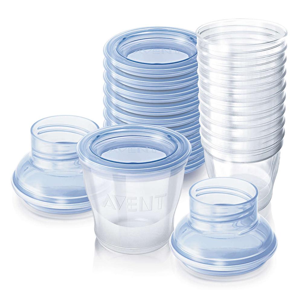 Lot de 10 pots de conservation pour lait maternel BLEU Philips Avent