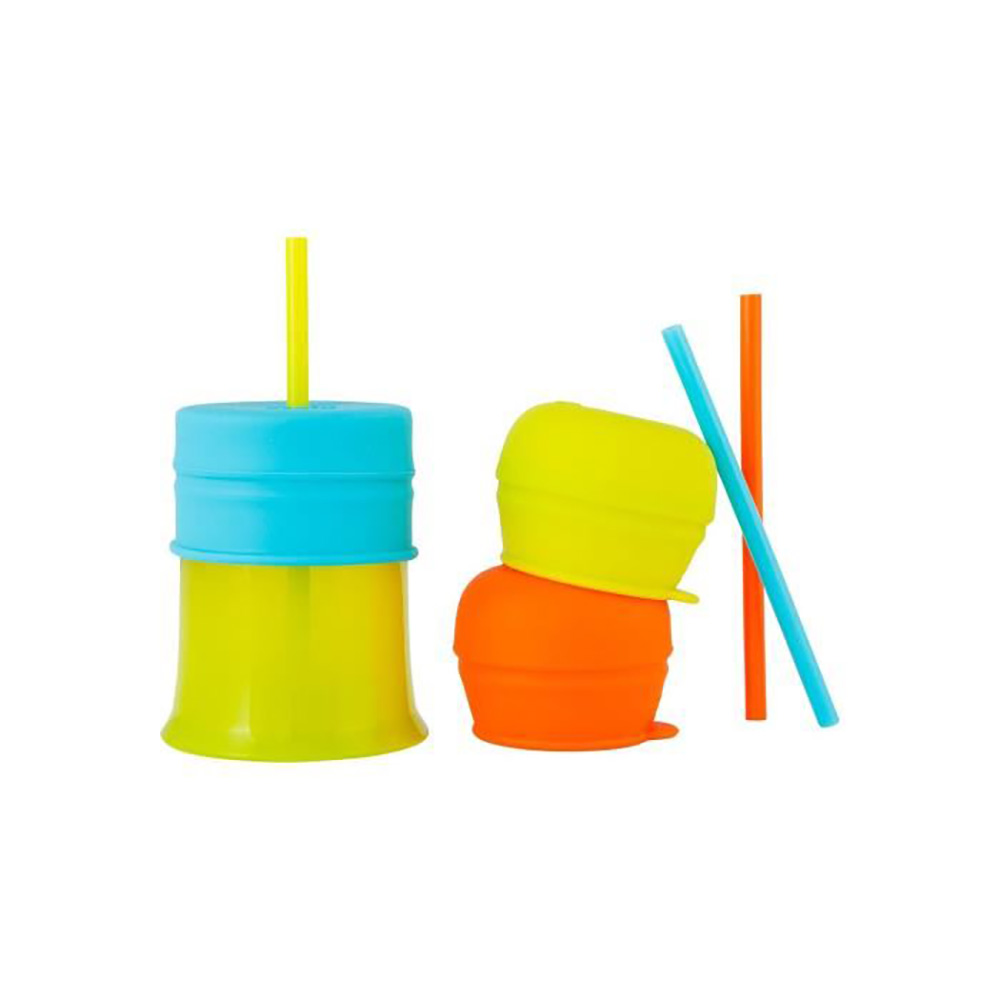 1 Tasse + 3 couvercles + 3 pailles Snug Straw MULTICOLORE Boon