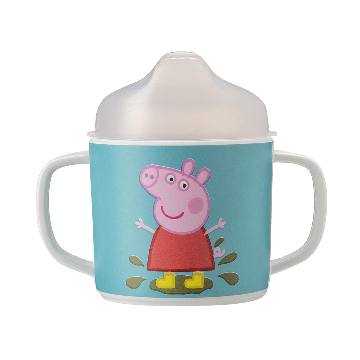 Tasse deux anses avec bec amovible Peppa Pig VERT petit jour paris