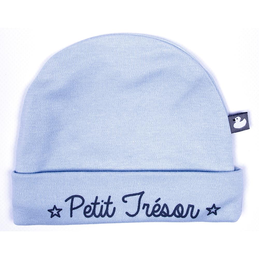 Bonnet Double Pur Coton Petit Tresor BLEU BB&Co