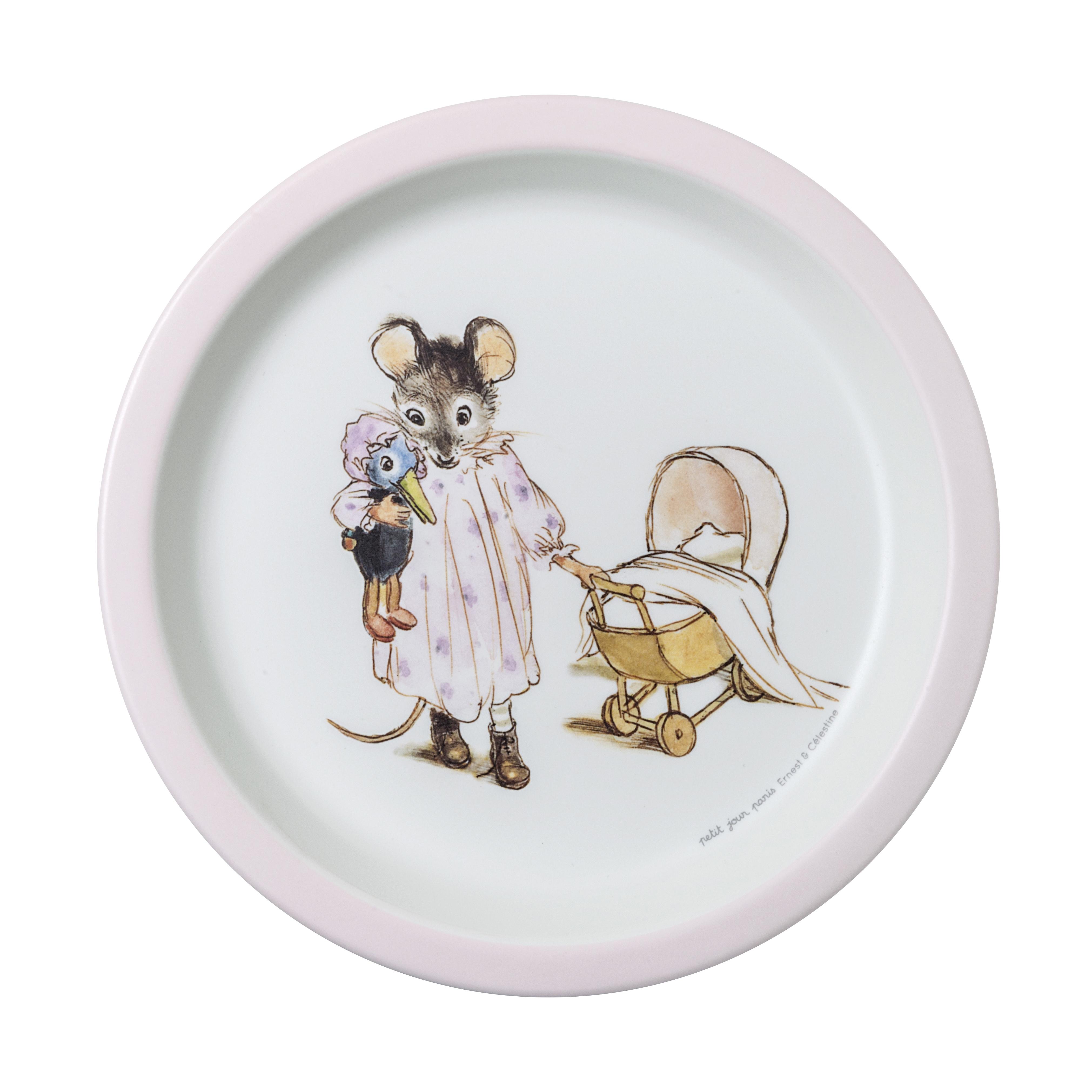 Assiette bébé Ernest et Celestine ROSE petit jour paris