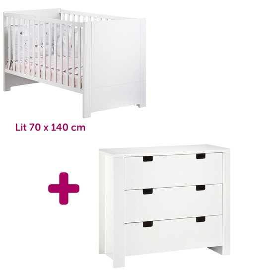Lit 70x140cm + commode City blanc
