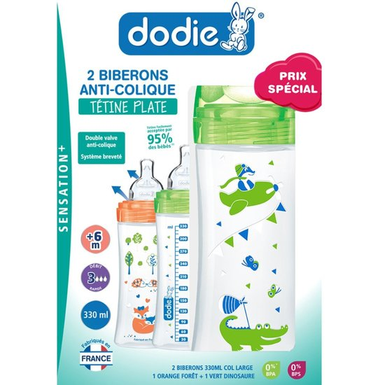 Dodie Coffret 2 biberons Sensation+ Vert/orange 330 ml