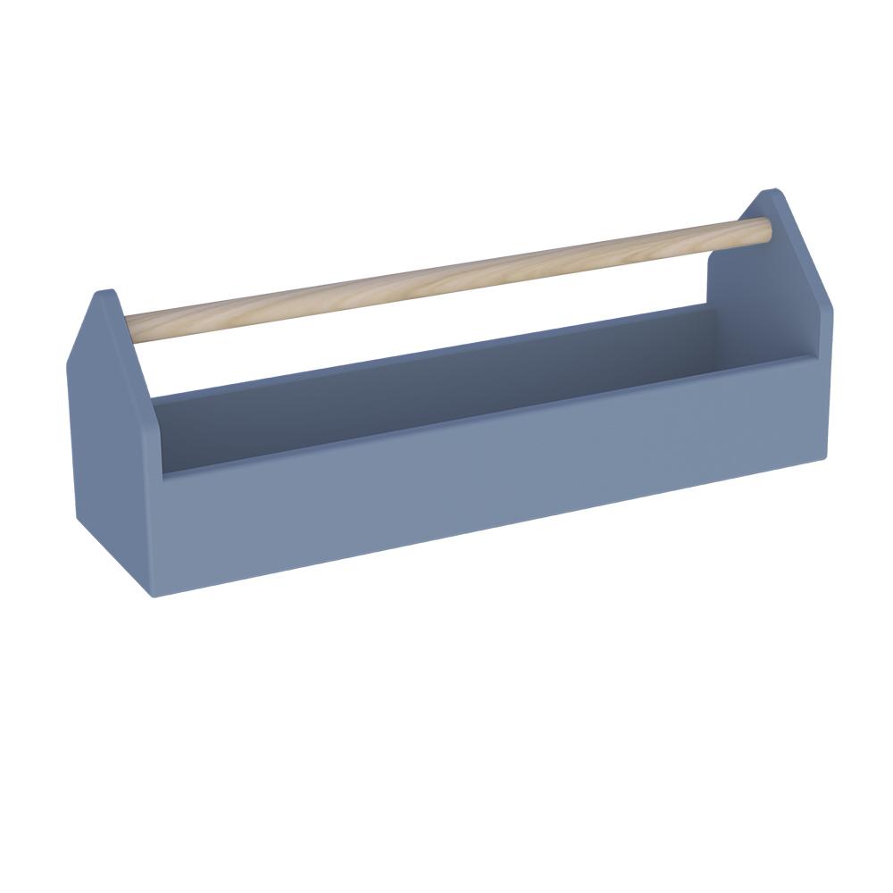 Boite de rangement en forme de boite à outils Fabriquée en mdf Finition couleur à l'eau BLEU Théo