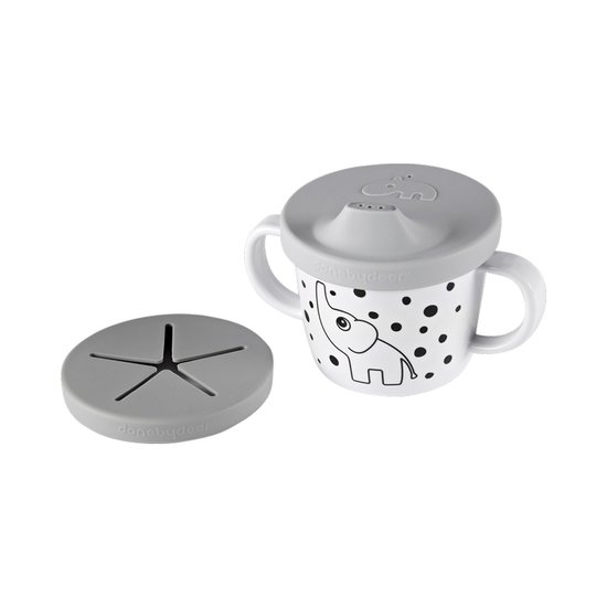 Done by Deer Tasse d'apprentissage silicone double usage Gris