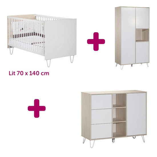 Sauthon Lit 70x140cm + commode + armoire Happy