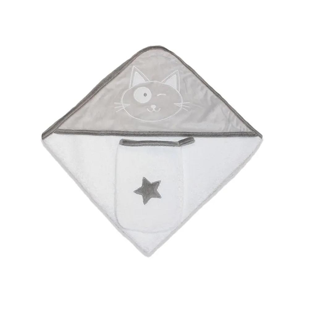 Sortie de bain Star GRIS Les Chatounets