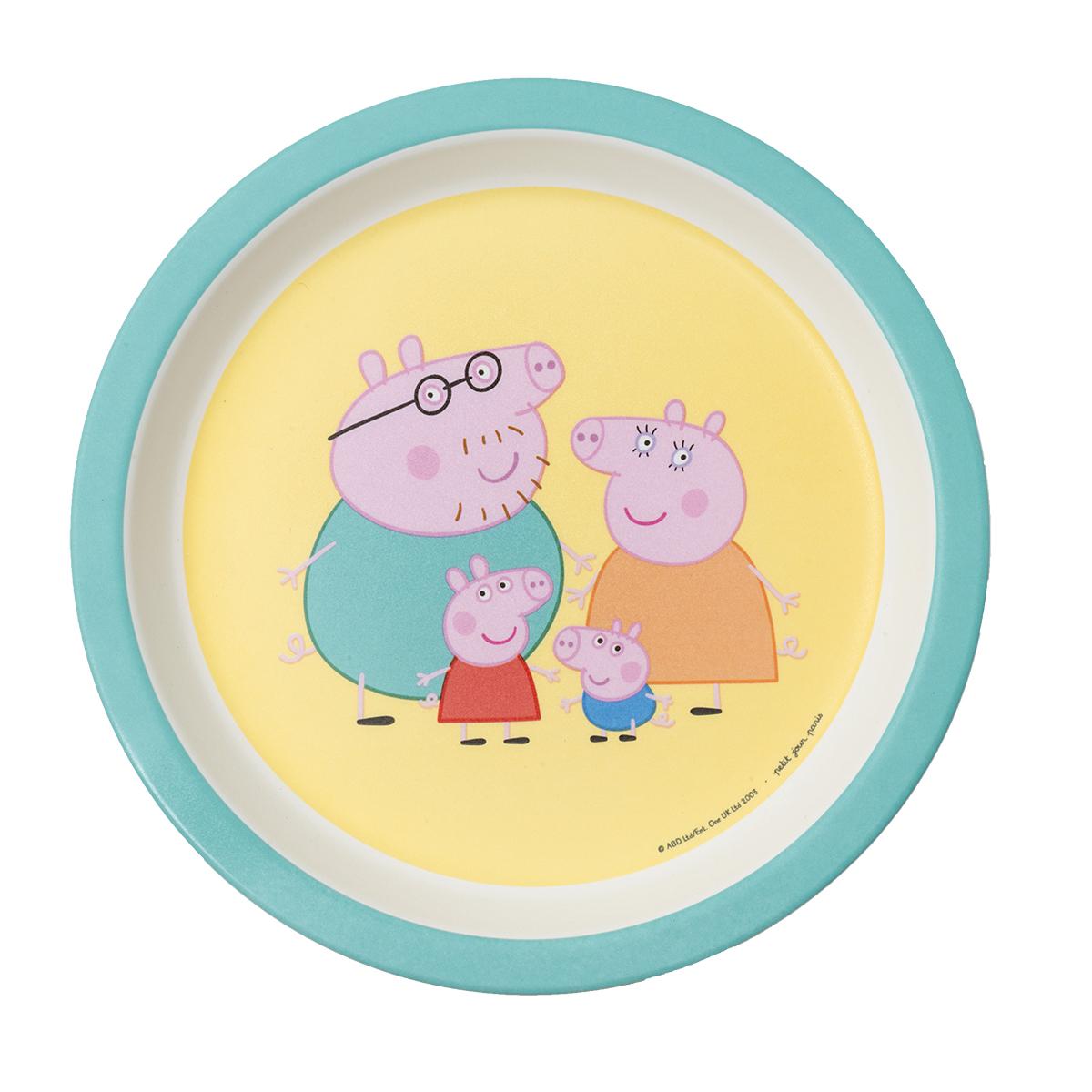 Assiette bébé avec les parents Peppa Pig JAUNE petit jour paris