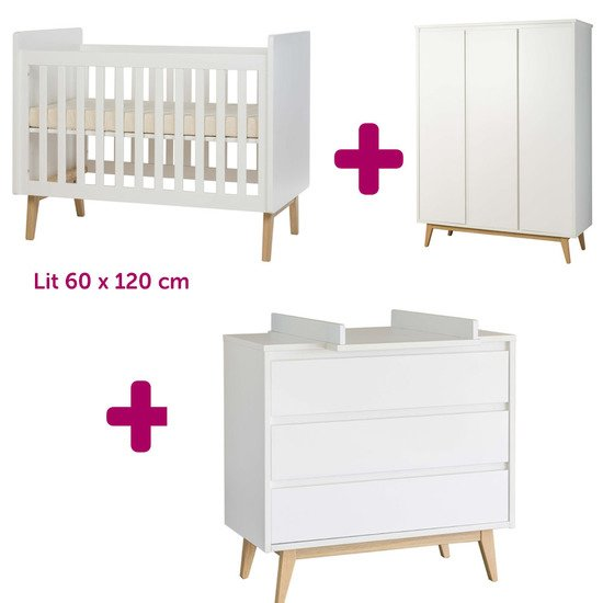 Lit 60x120 cm + commode + armoire Pure