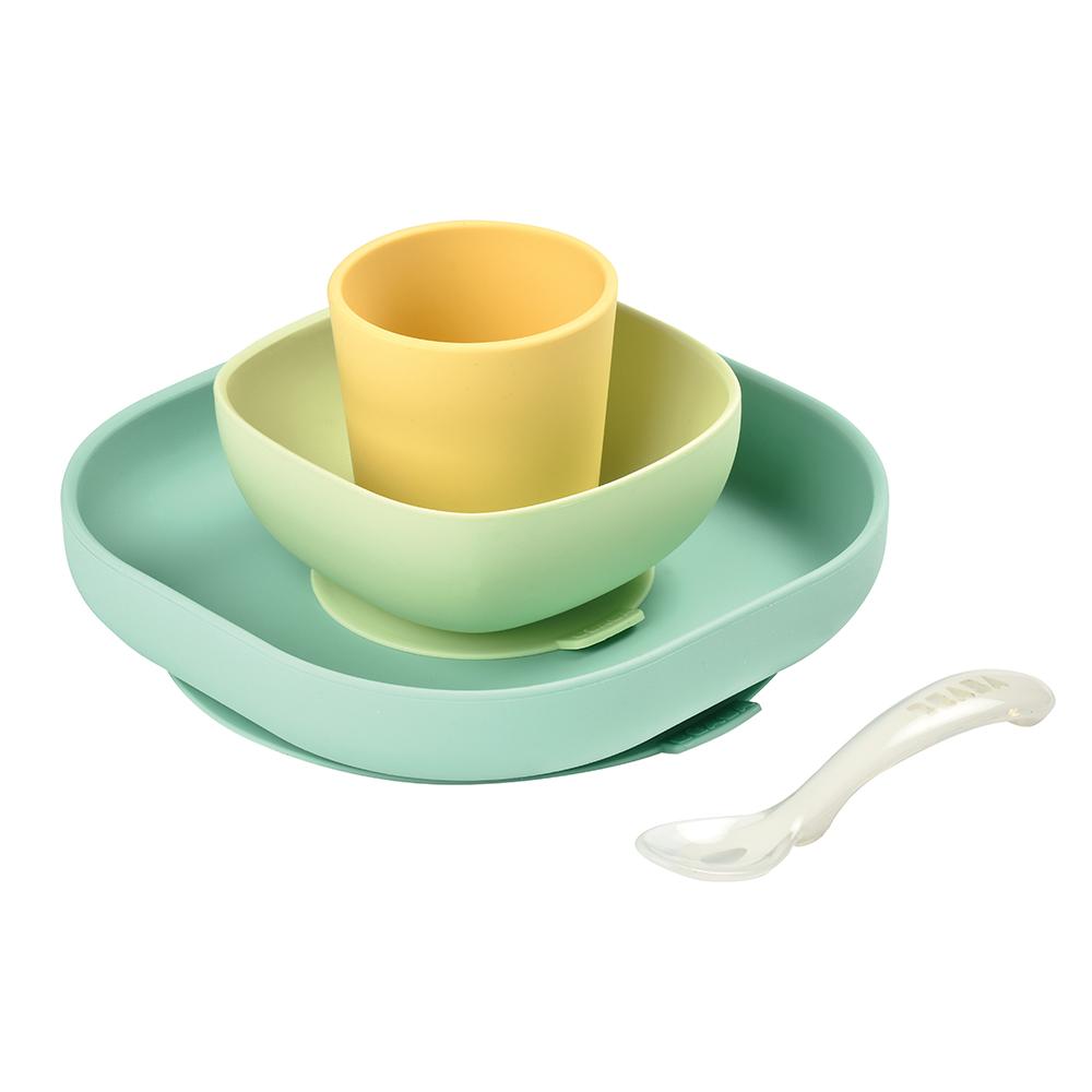 Set vaisselle silicone JAUNE Béaba