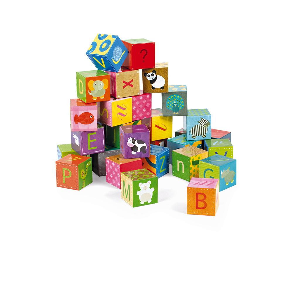 Kubkid - 32 Cubes Alphabet MULTICOLORE Janod