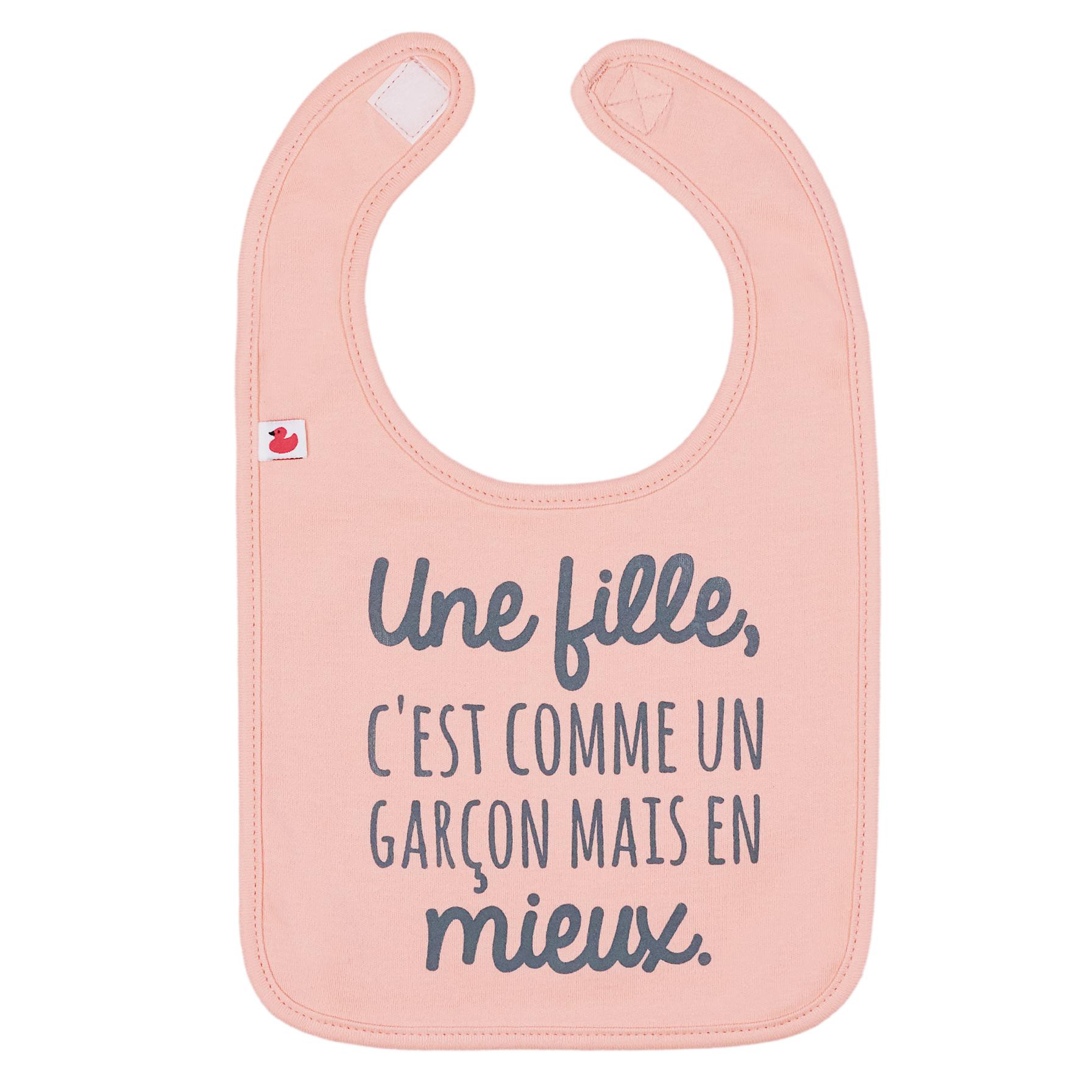 """Bavoir Une fille, c'est comme un garçon..."""" ORANGE BB&Co"""
