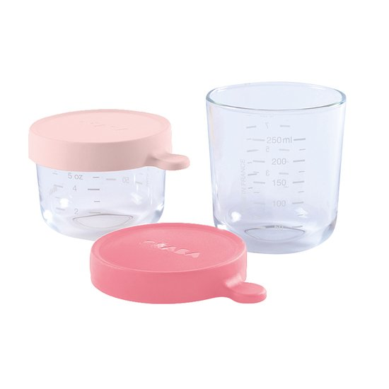 Béaba 2 portions verre pink 150 ml/250 ml