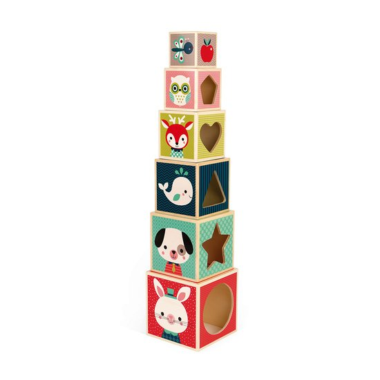 Janod Pyramide 6 Cubes - Baby Forest