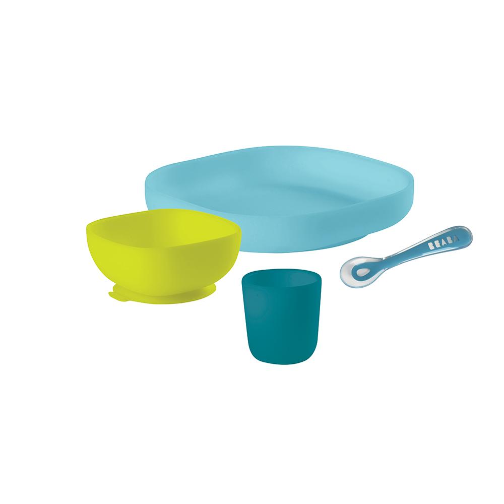 Set vaisselle silicone BLEU Béaba