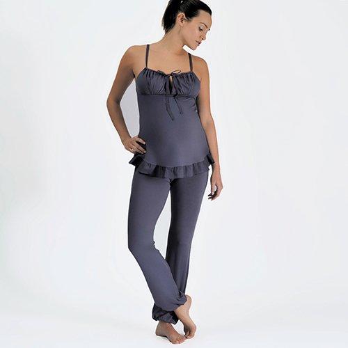 Pyjama maternité et allaitement GRIS Cache cœur